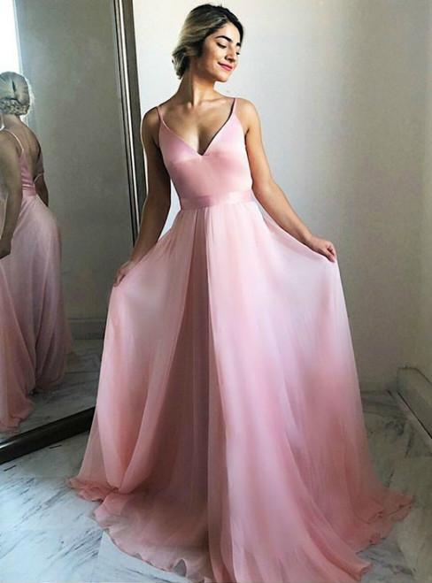 Formal Pink Chiffon V-neck Backless Long Prom Dress