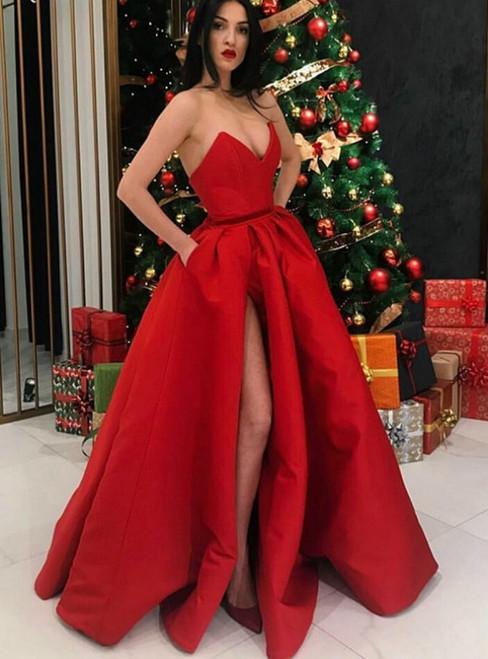 Red Satin V-Neck Backless Split-Front Prom Dress With Pockets