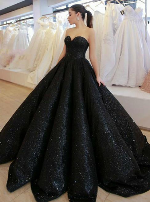 Ball Gown Black Sequin Sweetheart Sleeveless Floor-Length Prom Dress