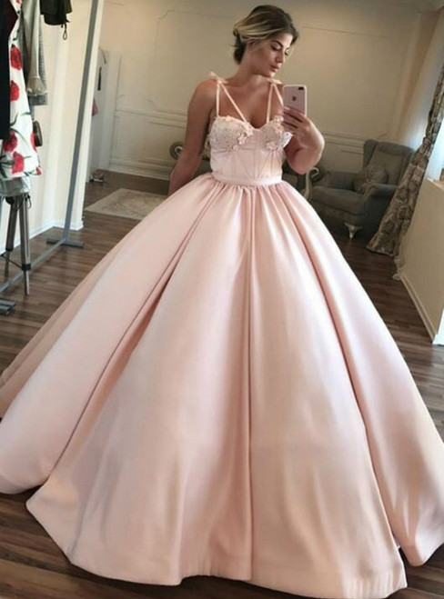Pink Ball Gown Satin Sweetheart Floor Length Prom Dress With Appliques