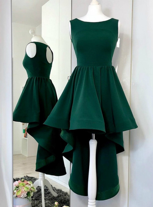 A-Line Round Neck High-Low Open Back Green Prom Dress
