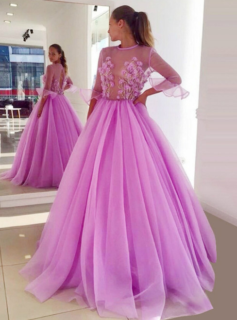 A-Line Ball Gown Jewel Half Sleeves Lilac Tulle Prom Dress With Appliques