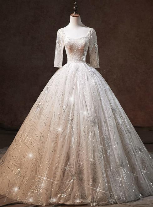 Beige White Tulle Sequins Bling Bling Half Sleeve Backless Wedding Dress