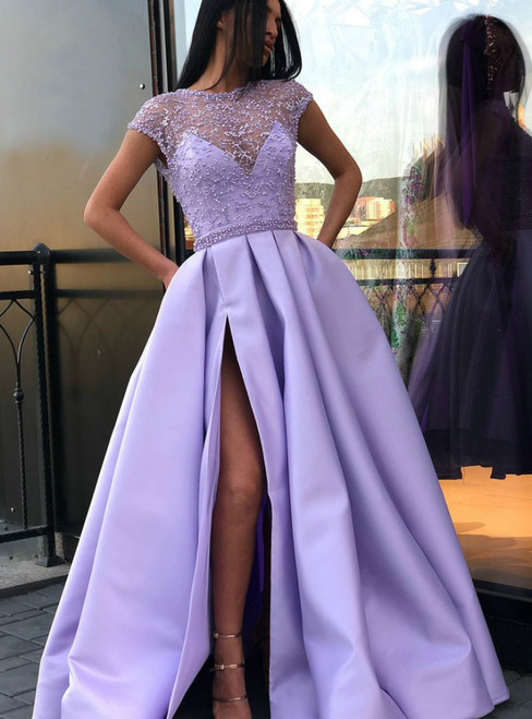 Lilac Satin See Through Cap Sleeve Prom Dress With Pocket