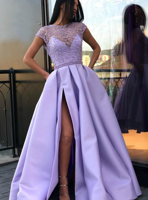 e093b44f493e Lilac Satin See Through Cap Sleeve Prom Dress With Pocket