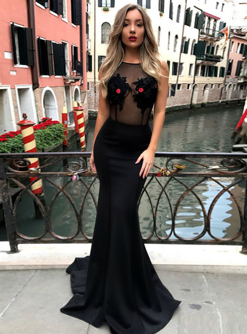 Black Mermaid Satin See Through Lace Appliques Prom Dress