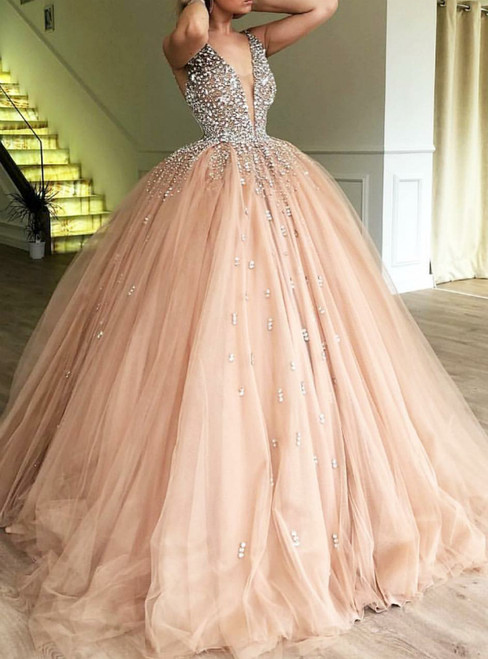 Pink Ball Gown Deep V-neck Tulle Sweet 16 Dress With Beading Party Dress