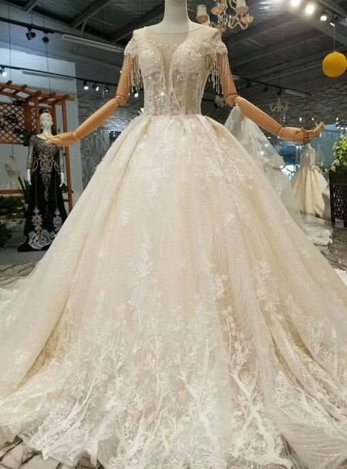 Light Champagne Tulle Sequins Appliques Backless With Beading Wedding Dress