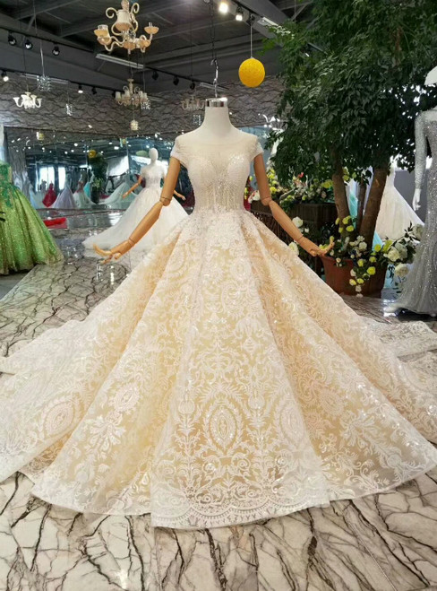 Champagne Ball Gown Lace Cap Sleeve Backless Wedding Dress With Beading