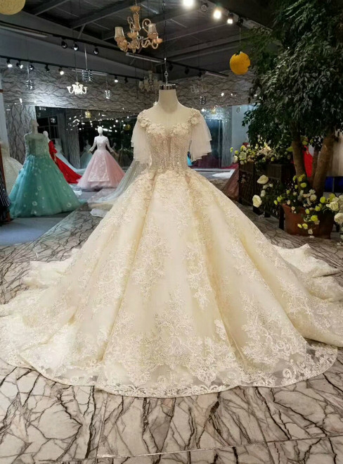 Light Champagne Deep V-neck Tulle Lace Appliques Wedding Dress With Beading