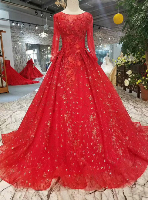 Red Tulle Sequins Long Sleeve Appliques Wedding Dress With Pearls