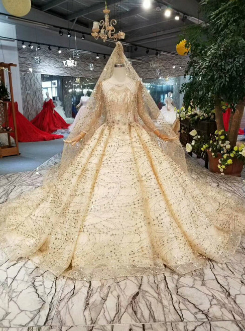 Champagne Gold Tulle Sequins Bling Bling Long Sleeve Wedding Dress