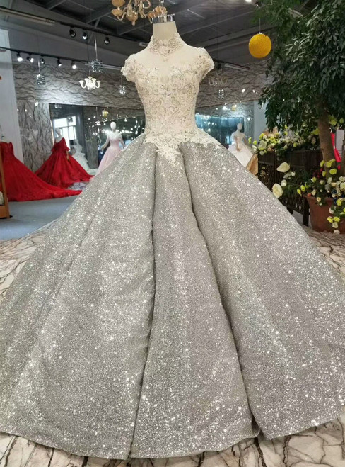 Ball Gown Silver Gray Bling Bling High Neck Backless Wedding Dress