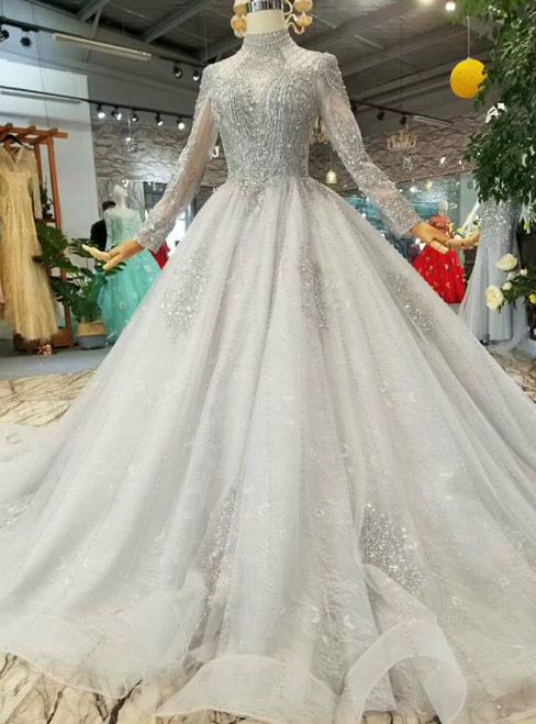 Gray Tulle High Neck Long Sleeve Backless Wedding Dress With Beading