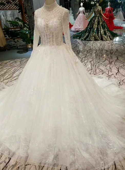 White Tulle High Neck Long Sleeve Backless Wedding Dress With Beading