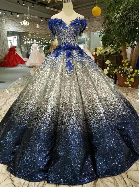 Blue Silver Sequins Off The Shoulder Backless Appliques Wedding Dress
