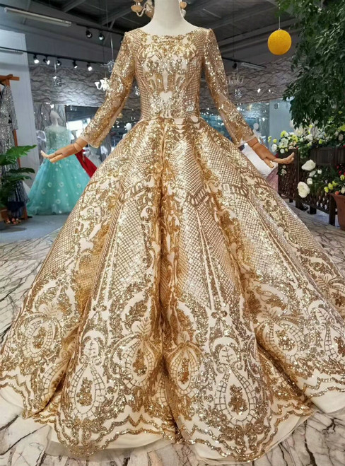 Gold Ball Gown Sequins Bling Bling Long Sleeve Floor Length Wedding Dress
