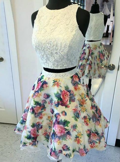 Cheap homecoming dresses 2017 2017 Zipper Printed Chiffon Short/Mini Round A-line