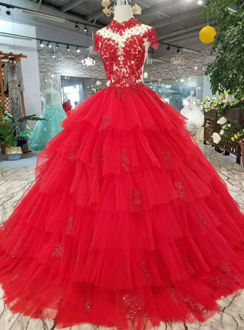 Red Ball Gown Tulle High Neck Backless Cap Sleeve Wedding Dress