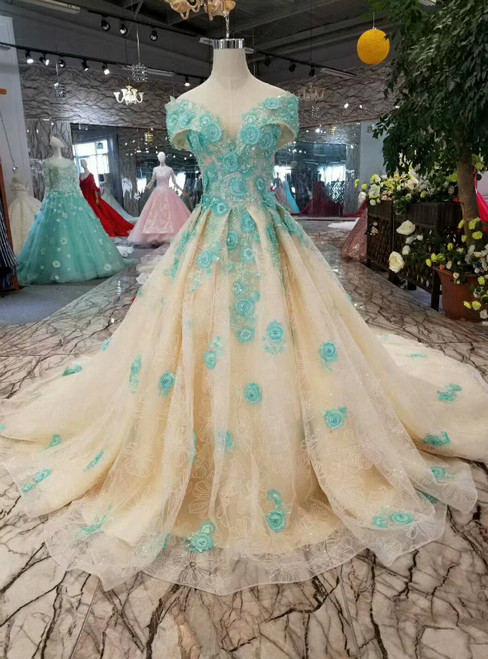 Champgne Tulle Green Appliques Off The Shoulder Wedding Dress With Beading