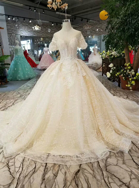 Champagne Tulle Sequins Bling Bling Puff Sleeve Backless Wedding Dress