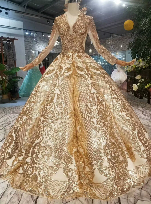 Gold Ball Gown Bling Bling V-neck Long Sleeve Wedding Dress