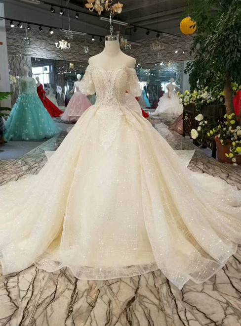 Light Champagne Tulle Sequins Puff Sleeve Wedding Dress With Detachable Train