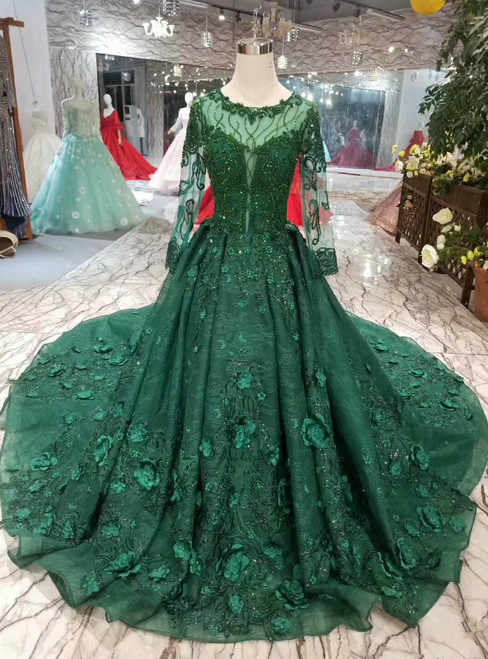 Green Lace Long Sleeve Apppliques Wedding Dress With Beading