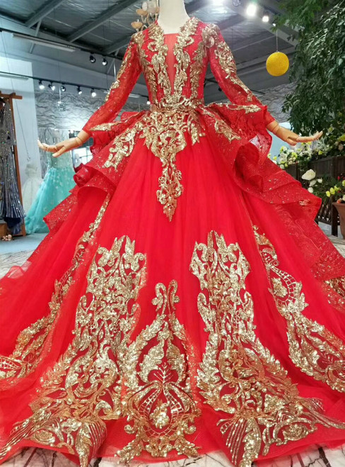 Red Tulle And Gold Sequins Appliques V-neck Long Sleeve Wedding Dress