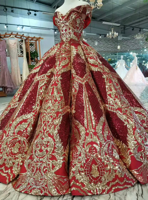 Red And Gold Sequins Appliques Off The Shoulder Wedding Dress
