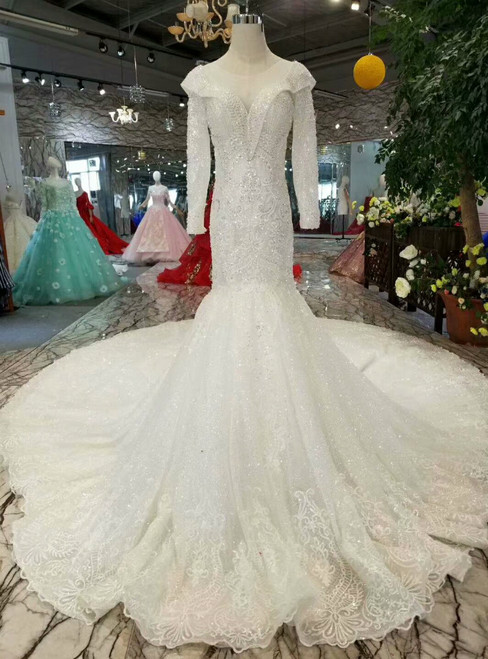 Light Champagne Tulle Sequins Mermaid Long Sleeve Wedding Dress With Beading