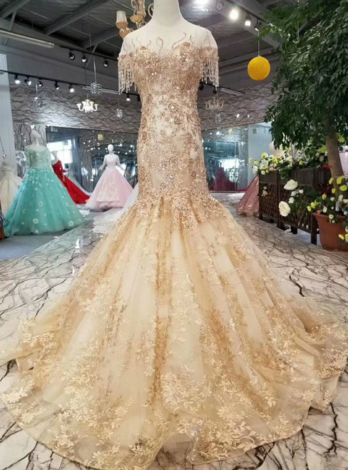 Champagne Mermaid Lace Appliques Cap Sleeve Backless Wedding Dress