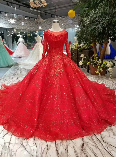 Red Ball Gown Sequins Long Sleeve Appliques Wedding Dress With Beading