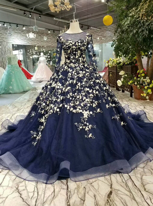 Vintage Navy Blue Long Sleeve Tulle Appliques Wedding Dress