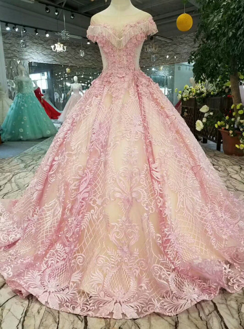 2ab1e121b0dc Pink Purple Lace Cap Sleeve Backless Wedding Dress With Beading