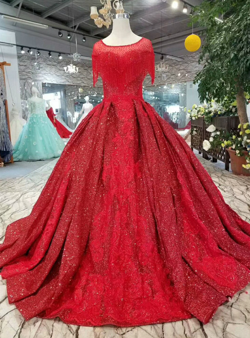 Red Ball Gown Sequins Appliques Cap Sleeve Backless Wedding Dress With Beading