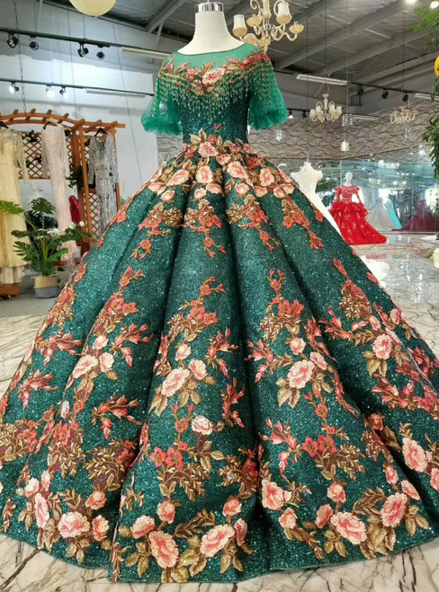 Green Ball Gown Sequins Embroidery Flower Short Sleeve Wedding Dress