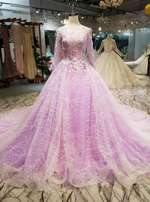 Purple Tulle Sequins Bling Bling Long Sleeve Wedding Dress With Appliques