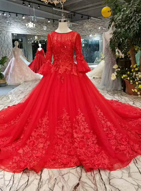 Red Tulle Long Sleeve Appliques Flower Wedding Dress With Train