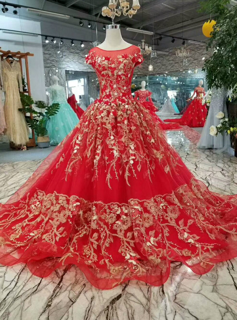 Red Ball Gown Tulle Gold Lace Appliques Cap Sleeve Backless Wedding Dress