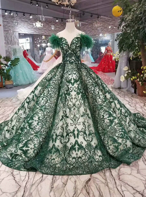 Dark Green Ball Gown Sequins Off The Shoulder Wedding Dress With Feather