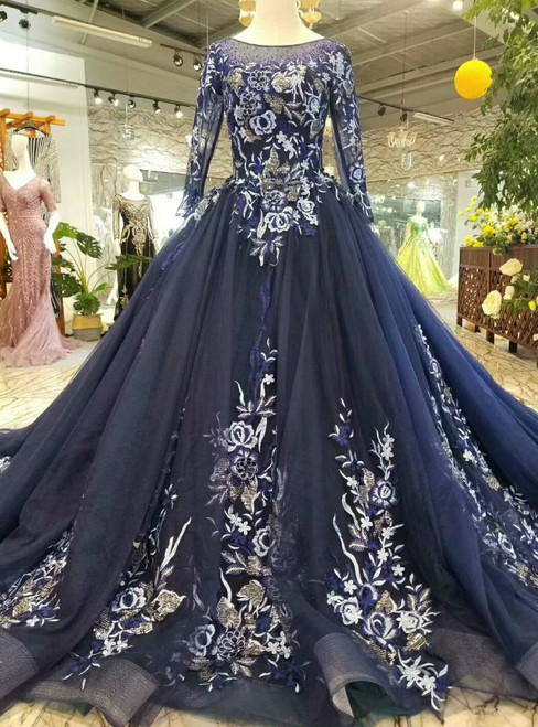 Navy Blue Tulle Embroidery Long Sleeve Wedding Dress With Train