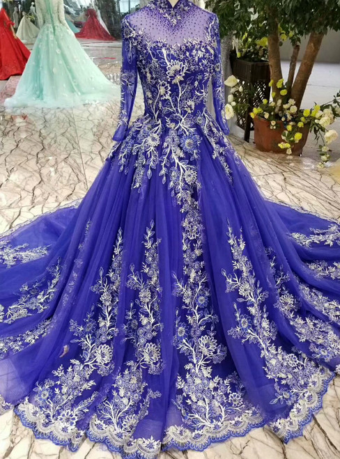 Royal Blue High Neck Long Sleeve Tulle Embroidery Wedding Dress