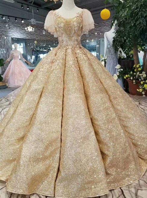 Gold Ball Gown Sequins Butterfly Sleeve Backless Wedding Dress With Beading