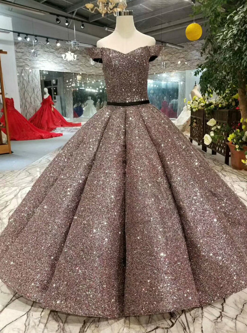 Coffee Color Ball Gown Sequins Bling Bling Off The Shoulder Wedding Dress