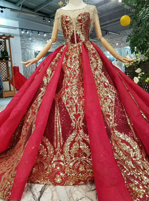 Red Ball Gown Sequins Bateau Neck Cap Sleeve Backless Haute Couture Wedding Dresses