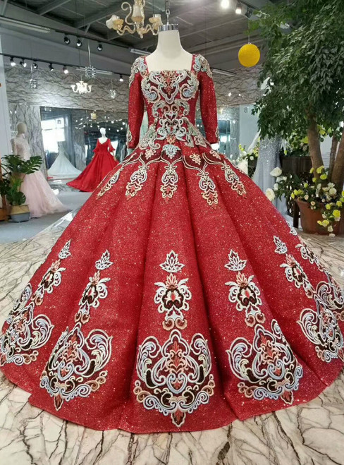 Red Sequins Square Long Sleeve Appliques Floor Length Wedding Dress