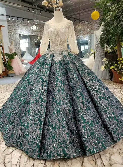 Green Ball Gown Sequins Appliques Puff Sleeve Wedding Dress With Beading