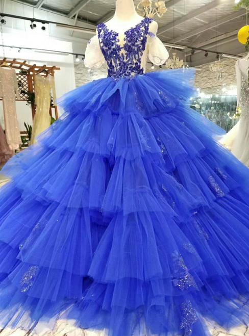 Royal Blue V-neck Tulle Appliques Cold Shoulder Puff Sleeve Wedding Dress