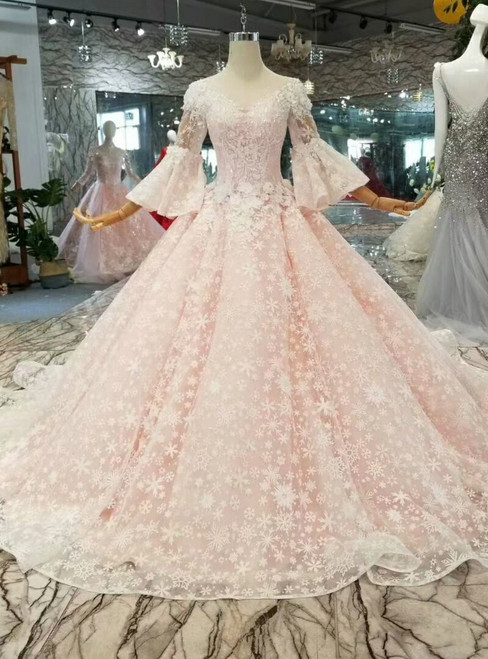 Pink Ball Gown Butterfly Appliques Wedding Dress With Beading
